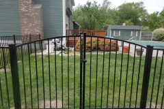 4′ Arched Double Drive Gate Pool Code Bedrock Style Black Aluminum Fence