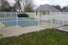 4.5' White Aluminum Granite Style Fence