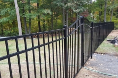 5' Granite Style Pool Code Black Aluminum Fence With Arched Double Drive Gate