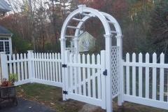 4' Wide Arbor With 4' Primrose White Vinyl Fence